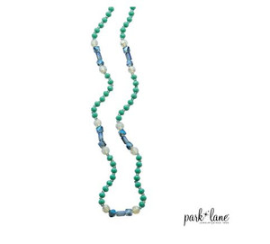 Necklace with Alternating Jade Green, Blue & Opalised Beads