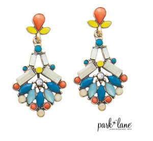 Drop Earrings with Blue, Salmon & White Glass Beads