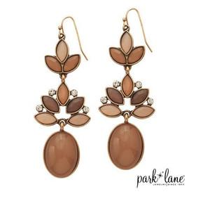 Drop Earrings with Tan, Taupe & Beige Gems & Rhinestones