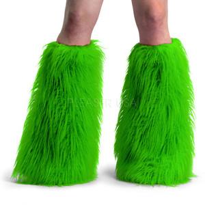 Green Faux Fur Leg Warmers