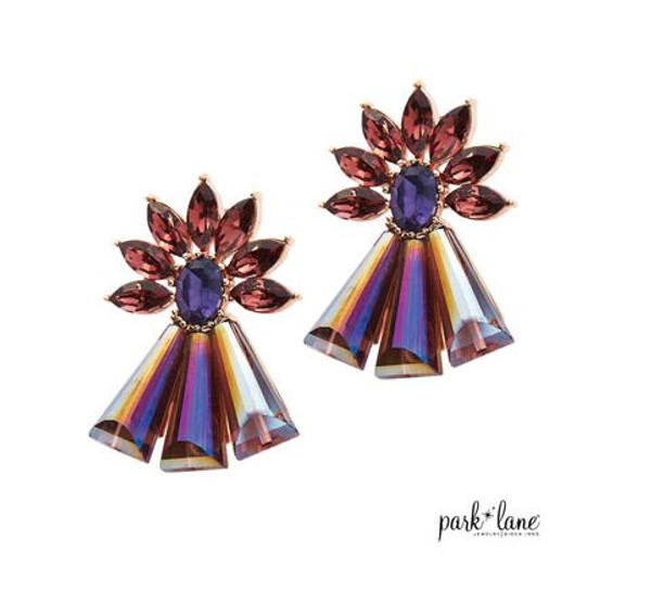 Iridescent Amethyst Crystal Drop Earrings set in Rose Gold
