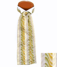 Formal 100% Woven Silk Ascot -  Ivory, Yellow and Green Tones