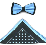 Antonio Ricci Two-Tone Polka Dot Hankie/Bow Tie Set - Black & Sea Blue