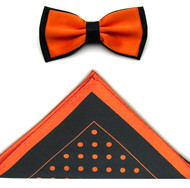 Antonio Ricci Two-Tone Polka Dot Hankie/Bow Tie Set - Black & Orange