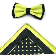 Antonio Ricci Two-Tone Polka Dot Hankie/Bow Tie Set - Black & Neon Yellow