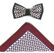 Antonio Ricci Two-Tone Small Paisley Hankie/Bow Tie Set - Burgundy & Navy