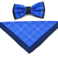 Antonio Ricci Plaid Hankie/Bow Tie Set - French Blue & Dark Blue
