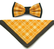 Antonio Ricci Plaid Hankie/Bow Tie Set - Butterscotch & Brown