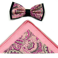 Antonio Ricci Fancy Paisley Two-Tone Bow Tie & Pocket Square - Pink