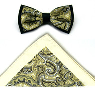 Antonio Ricci Fancy Paisley Two-Tone Bow Tie & Pocket Square - Yellow & Ivory