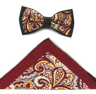 Antonio Ricci Fancy Paisley Two-Tone Bow Tie & Pocket Square - Burgundy
