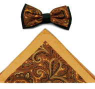Antonio Ricci Fancy Paisley Two-Tone Bow Tie & Pocket Square - Gold & Copper