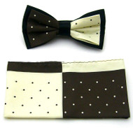 Antonio Ricci Fancy Two-Tone Bow Tie & Pocket Square - Brown & Ivory