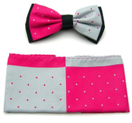Antonio Ricci Fancy Two-Tone Bow Tie & Pocket Square - Hot Pink & Grey