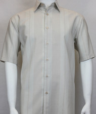 Sangi Modal Blend Short Sleeve Camp Shirt - Tan Tonal Wide Stripe