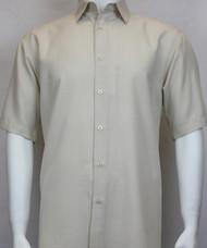 Sangi Modal Blend Short Sleeve Camp Shirt - Sand Geometric Weave
