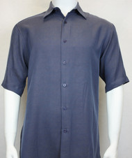 Sangi Modal Blend Short Sleeve Camp Shirt - Blue Basketweave Design