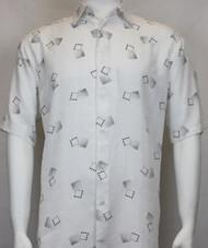 Sangi Modal Blend Short Sleeve Camp Shirt - Charcoal Floating Square Design