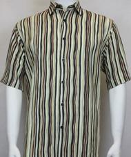 Sangi Modal Blend Short Sleeve Camp Shirt - Green Wavy Stripe Design