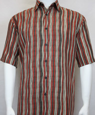 Sangi Modal Blend Short Sleeve Camp Shirt - Brick Wavy Stripe Design
