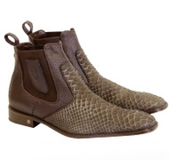 Vestigium Genuine Python Snake Skin & Calf Ankle Dress Boot - Light Brown