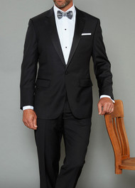 Baroni Couture 1-Button Super 150's Wool Notch Lapel Tuxedo