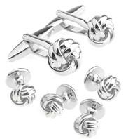 Silver Love Knot Cufflinks & Formal Studs