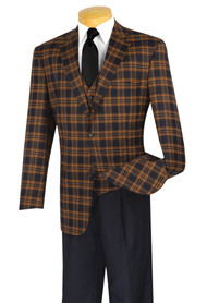 Vinci Plaid 2-Button Cognac Plaid Jacket & Vest with Pleated Slacks Suit
