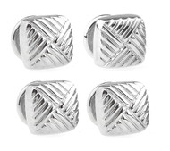 4 Square Silver Formal Studs