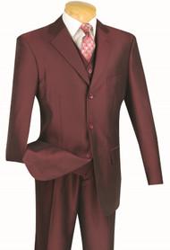 Vinci 3-Button with Vest and Pleated Slacks Burgundy Sharkskin Suit