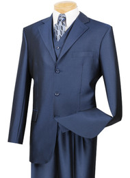 Vinci 3-Button with Vest and Pleated Slacks French Blue Sharkskin Suit