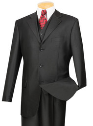 Vinci 3-Button with Vest and Pleated Slacks Black Sharkskin Suit