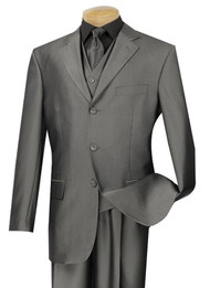 Vinci 3-Button with Vest and Pleated Slacks Grey Sharkskin Suit