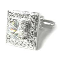 Center Round Diamond Crystal Cufflinks (V-CF-C50124C)