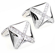 Cross Diamond Swarovski® Crystal Design Cufflinks (V-CF-C811C-S)