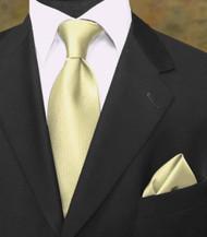 Luciano Ferretti 100% Woven Silk Necktie with Pocket Square - Soft Yellow