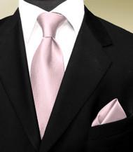 Luciano Ferretti 100% Woven Silk Necktie with Pocket Square - Pale Pink