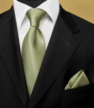 Luciano Ferretti 100% Woven Silk Necktie with Pocket Square - Olive