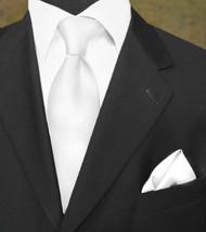 Luciano Ferretti 100% Woven Silk Necktie with Pocket Square - White