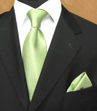 Luciano Ferretti 100% Woven Silk Necktie with Pocket Square - Lime