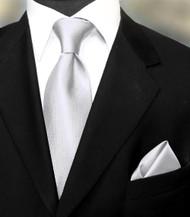 Luciano Ferretti 100% Woven Silk Necktie with Pocket Square - Silver