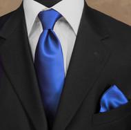 Luciano Ferretti 100% Woven Silk Necktie with Pocket Square - Rich Blue
