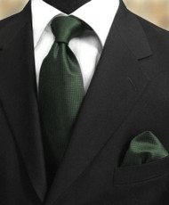 Luciano Ferretti 100% Woven Silk Necktie with Pocket Square - Forest Green