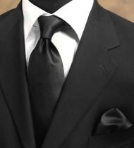 Luciano Ferretti 100% Woven Silk Necktie with Pocket Square - Black