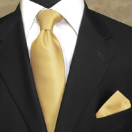 Luciano Ferretti 100% Woven Silk Necktie with Pocket Square - Yellow-Gold