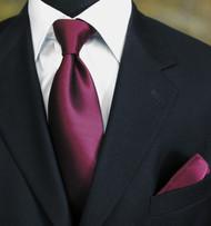 Luciano Ferretti 100% Woven Silk Necktie with Pocket Square - Berry