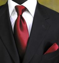Luciano Ferretti 100% Woven Silk Necktie with Pocket Square - Dark Red