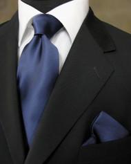 Luciano Ferretti 100% Satin Silk Necktie with Pocket Square - Navy