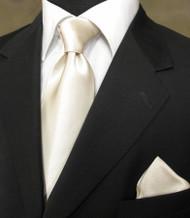 Luciano Ferretti 100% Satin Silk Necktie with Pocket Square - Ivory