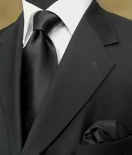 Luciano Ferretti 100% Satin Silk Necktie with Pocket Square - Black